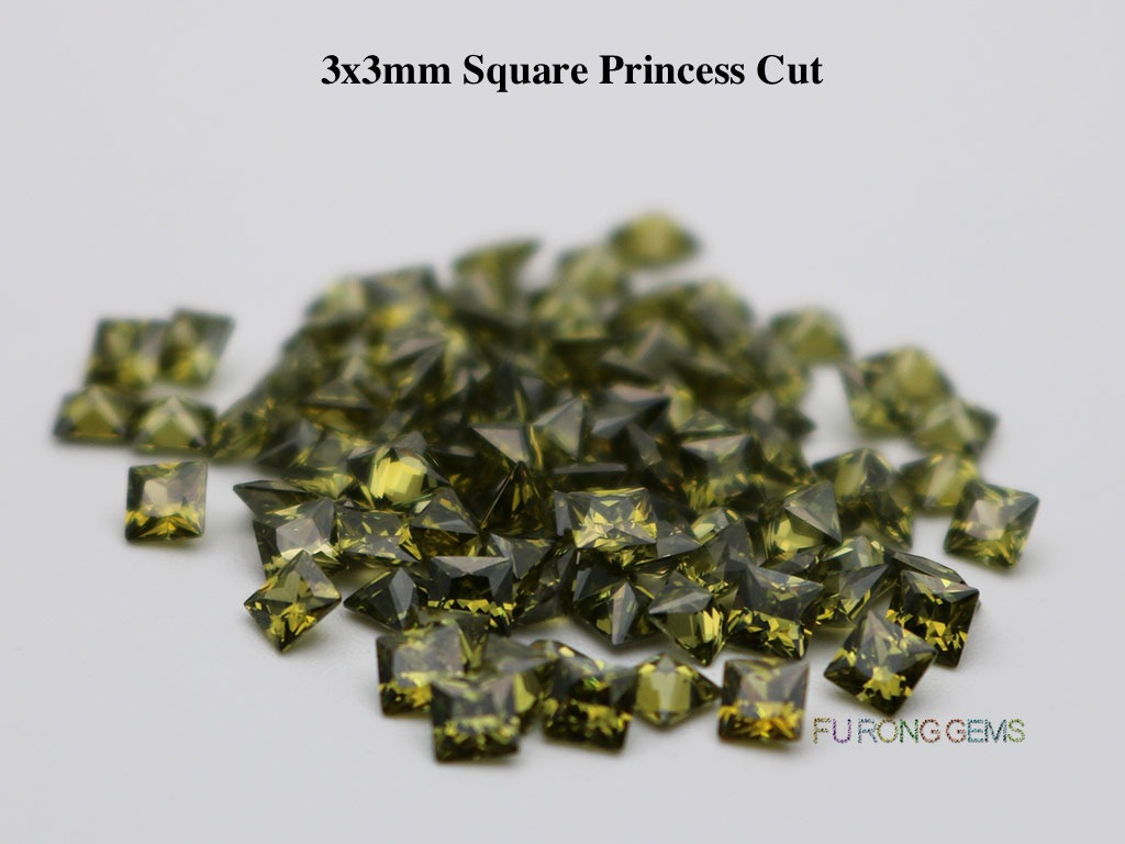 Peridot-Color-Cubic-Zirconia-Square-Princess-3x3mm-Gemstone-for-sale