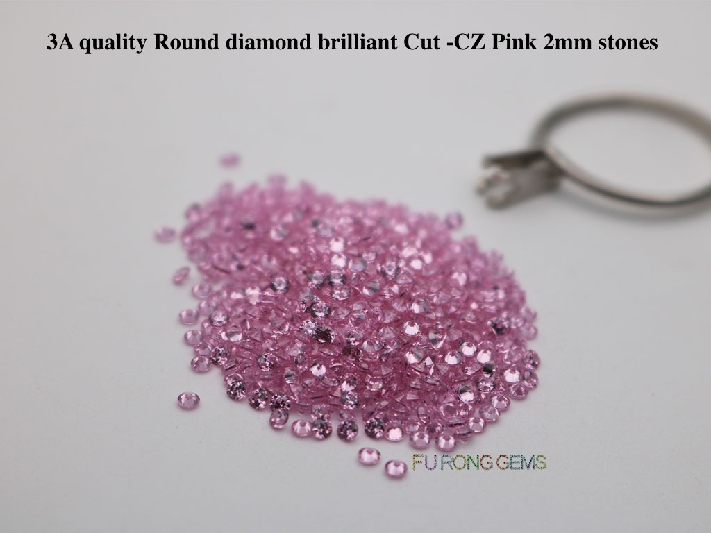 Pink-Color-Cubic-Zirconia-3A-Quality-Round-Diamond-Cut-Gemstones-wholesale