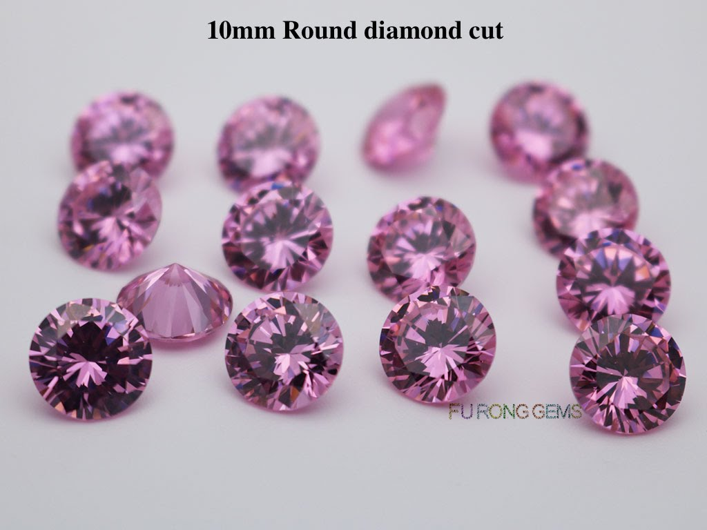 Pink-Color-Cubic-Zirconia-Round-diamond-cut-in-10mm-For-sale