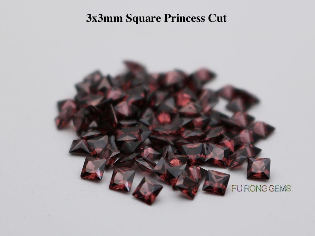 Rhodolite-Smoky-Cubic-Zirconia-Square-shape-3x3mm-gemstones-wholesale