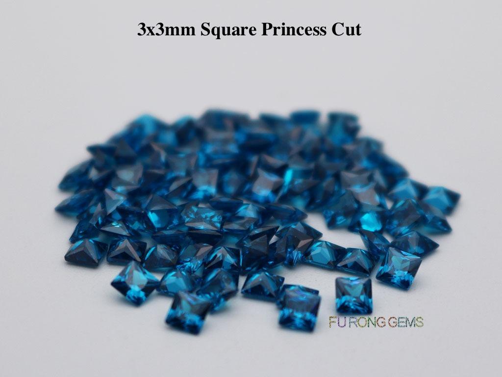 Swiss-Blue-Loose-Cubic-Zirconia-Square-shape-3x3mm-gemstones-wholesale