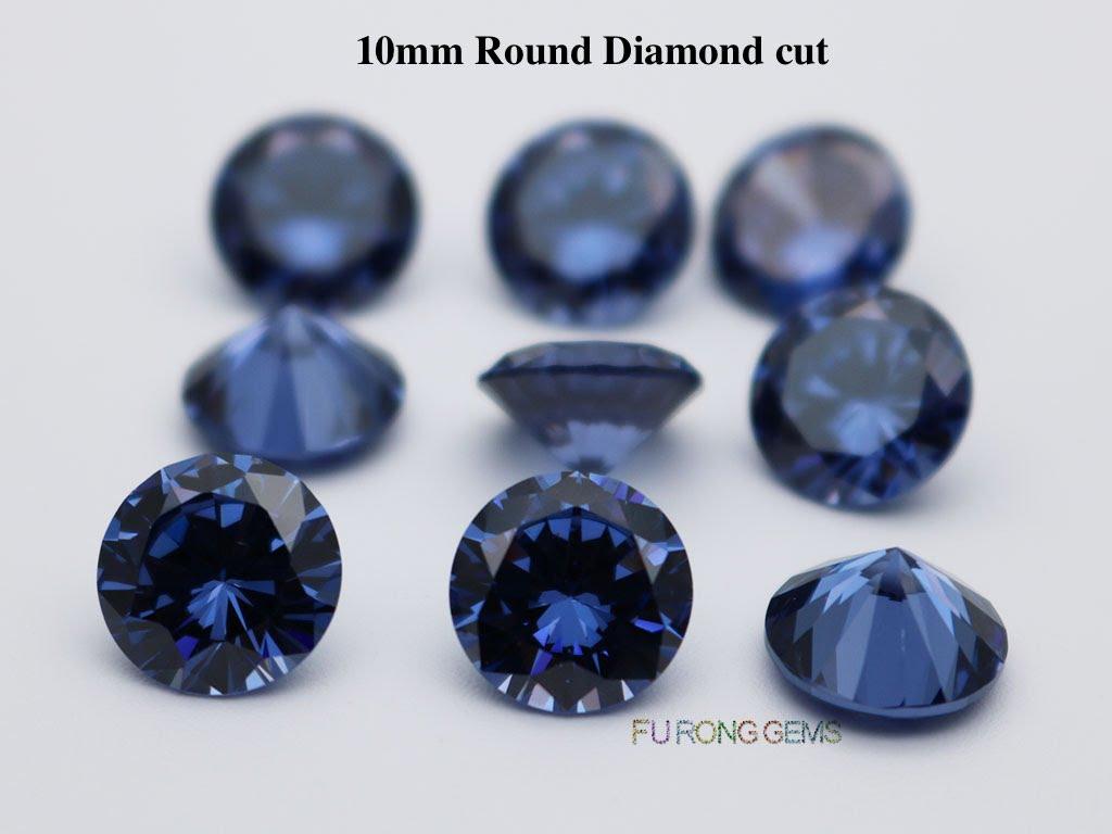 Tanzanite-Blue-Color-Cubic-Zirconia-Round-diamond-cut-10mm-gemstones-for-sale