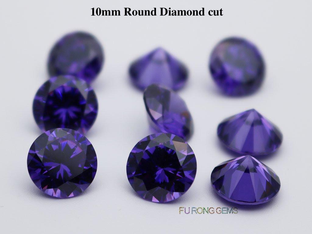Violet-Blue-Color-Cubic-Zirconia-Round-diamond-cut-10mm-gemstones-for-sale