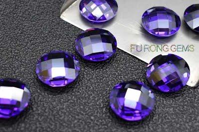 Violet-Colored-Cubic-Zirconia-Checkerboard-Flat-bottom-Gemstones