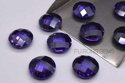 Violet-Purple-Colored-Cubic-Zirconia-Checkerboard-Shaped-Gemstones