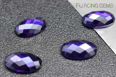 Violet-Purple-Colored-Cubic-Zirconia-Oval-Checkerboard-Shaped-Gemstones