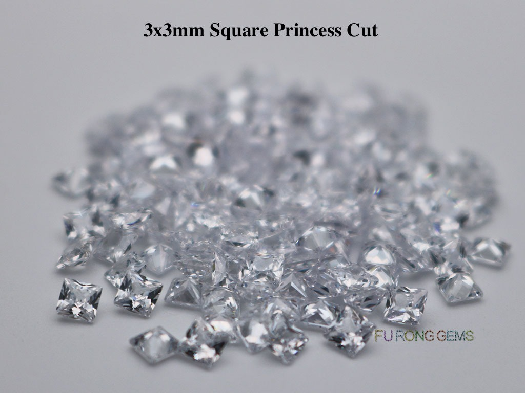 White-Clear-Loose-Cubic-Zirconia-Square-shape-3x3mm-gemstones-wholesale