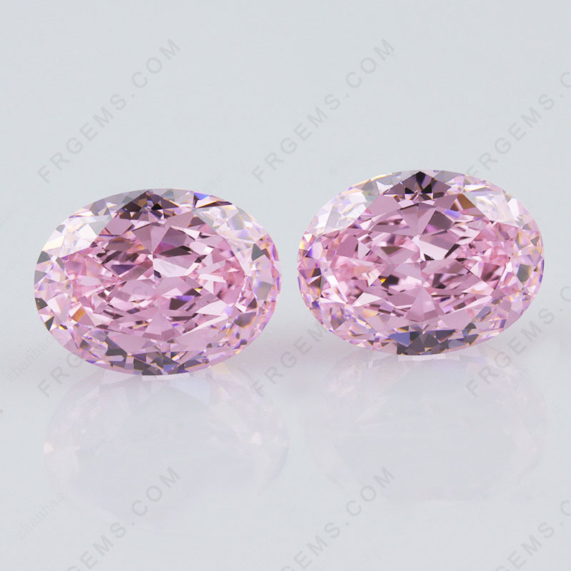 Crushed Ice Cut Light Pink Color Oval Shape Loose Cubic Zirconia Gemstones