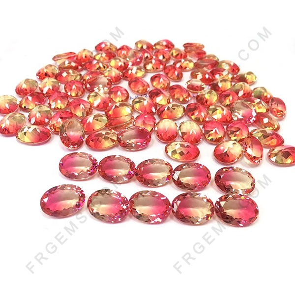 Synthetic Watermelon Tourmaline Glass BiColor Gemstones Wholesale from China
