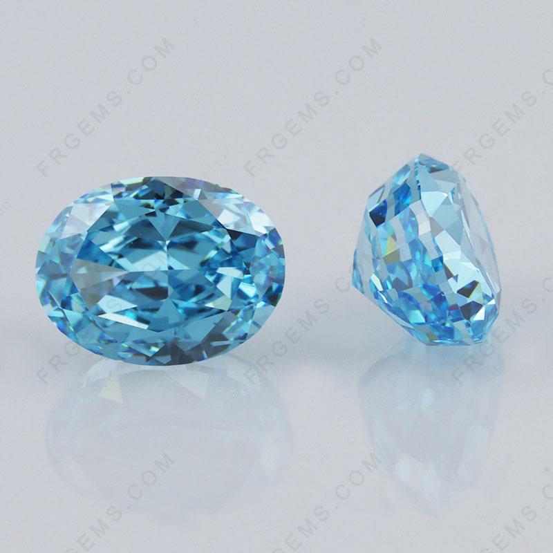 Crushed Ice Cut Aquamarine Blue Color Oval Shape Loose Cubic Zirconia Gemstones