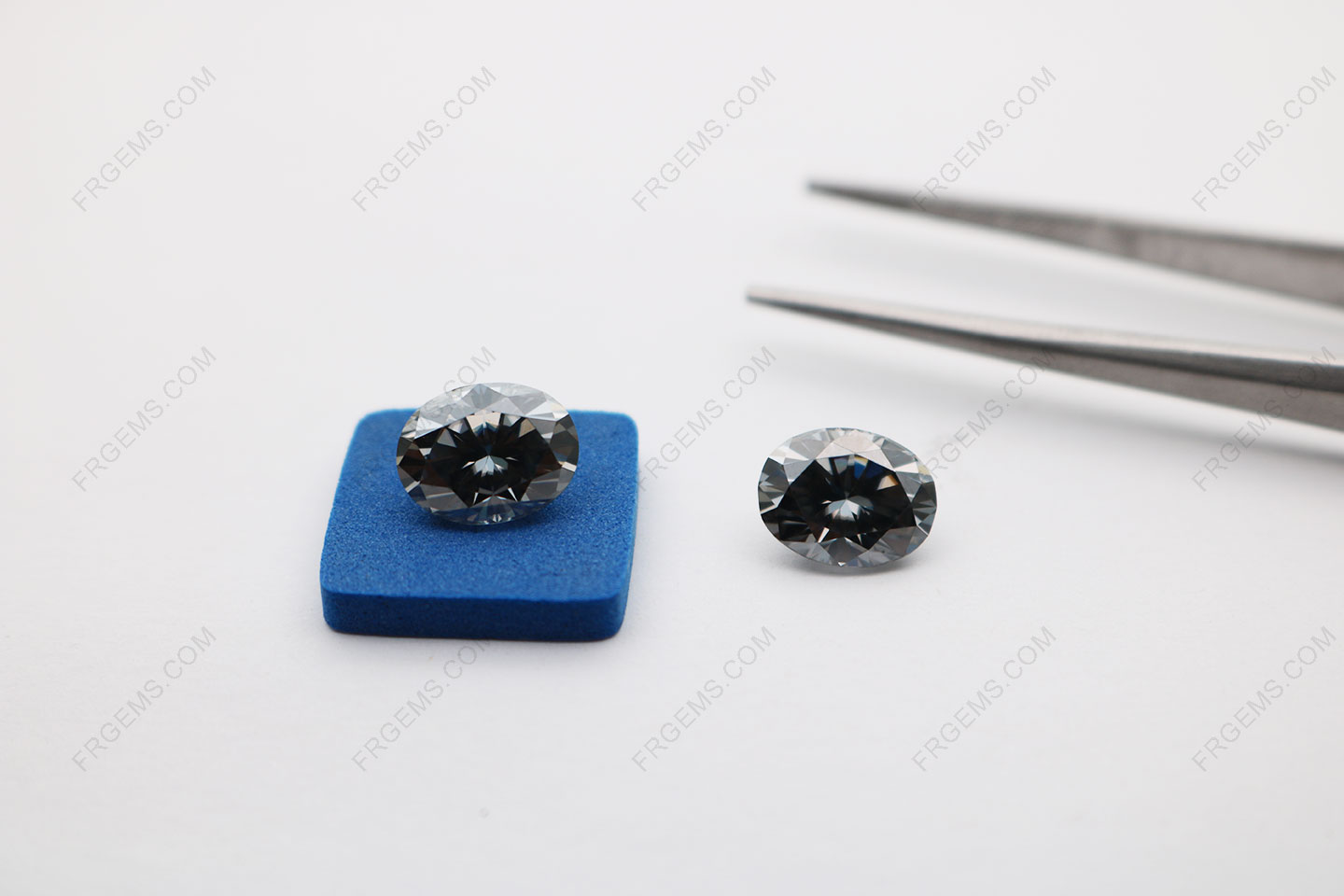 Loose Moissanite Dark Gray Color Oval Shape Faceted Cut 10x8mm 3ct gemstones