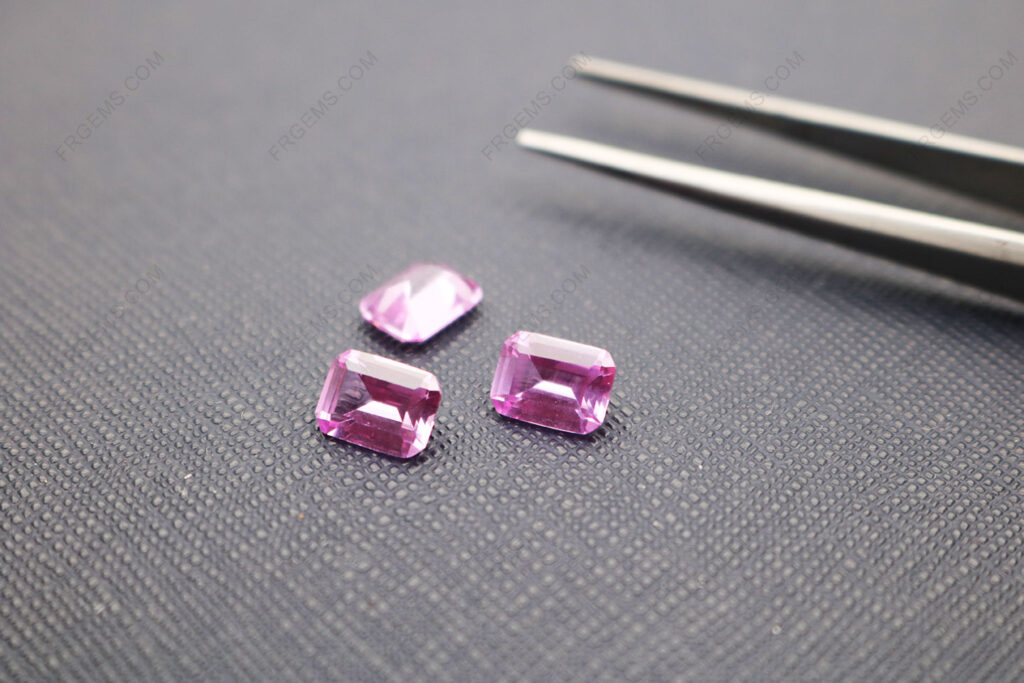 Synthetic-Lab-Pink-Sapphire-Corundum-2#-Emerald-Cut-8x6mm-gemstones-Wholesale-IMG_5069